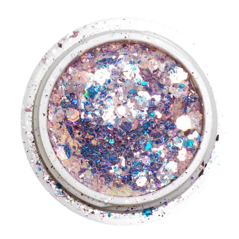 1 กล่องผสมเล็บ Glitter Flakes 3D หกเหลี่ยมที่มีสีสันคริสตัล Spangles Gradient Glitter ทำเล็บมือตกแต่งเล็บ