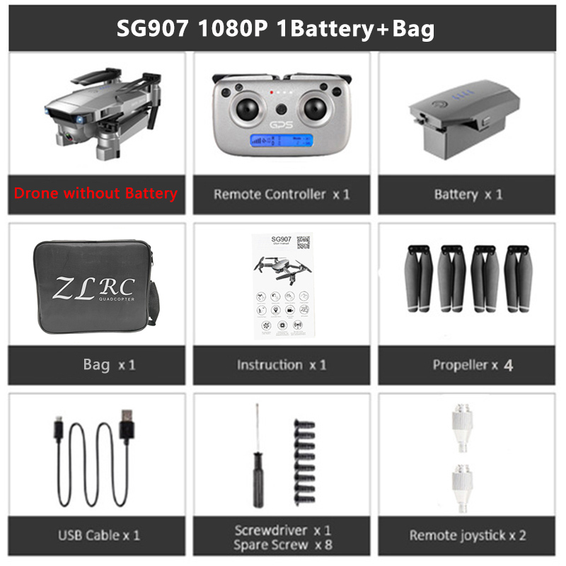 SG907 5G WIFI GPS Drone professional 4K wide Angle gimbal zoom control FPV adjustment Dual camera Drone Foldable Quadcopter dron
