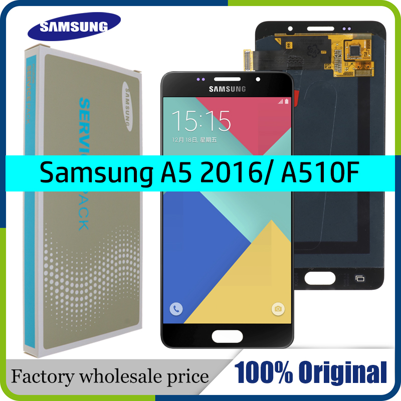 SUPER AMOLED 5.2'' LCD For SAMSUNG Galaxy A5 2016 A510 A510F A510M A510FD LCD Display With Touch Screen Digitizer Assembly