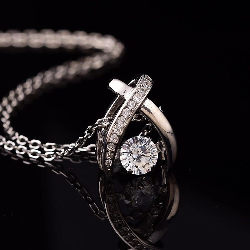 Kkmall Store rond S925 pendentifs en argent 0.50ct D VVS pendentifs de luxe bijoux petite amie cadeau de noël S925 colliers