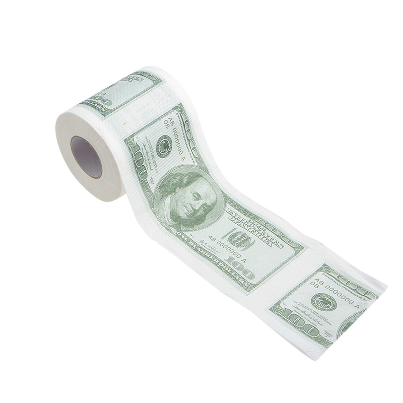 1 Roll 2 Ply NEW Novelty Funny 100 Dollar Money Printed WC Bath Funny Toilet Paper Tissue Bathroom Supplies Gift FOR Home