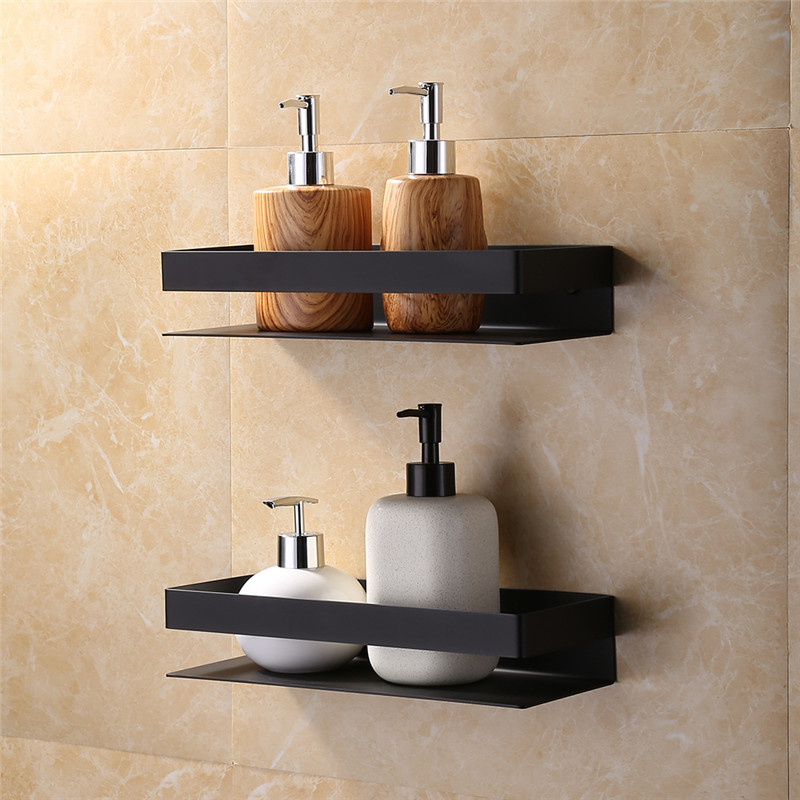 bathroom corner shelf 304 stainless steel shower rack square bath holder wall mount nail punched black nickel storage organizer