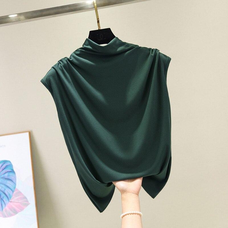 [EAM] Women 8 Colors Brief Pleated Khaki Pleated T-shirt New Turtleneck Sleeveless  Fashion Tide  Spring Summer 2020 1X854 5