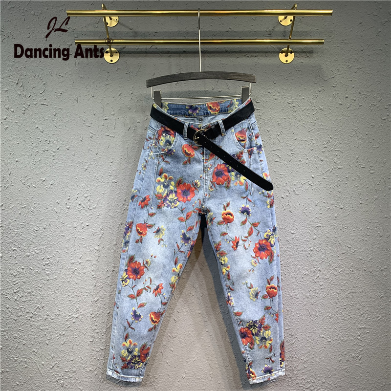 Woman Jeans High Waist Slim Loose Harem Pants Korean Style Vintage Floral Printed Casual Female Long Denim Trousers 2020 Fashion