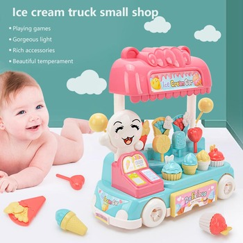 Children's Girl Play House Toys Sound And Light Music Candy Ice Cream Snack Car Accessories Shopping Supermarket Kitchen Food image