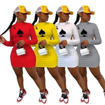 цена на 2020 Summer Women Dress Hot Style Model Solid-color Poker Spades Q Print Long Sleeves Backless Sexy Bodycon Dress
