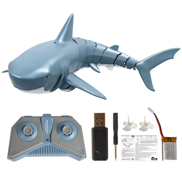 2.4G RC Shark Fish Boat Remote Control Bait Boat Mini Radio Electronic Shark Fish Boat Toy Simulation Toy For Children Kids