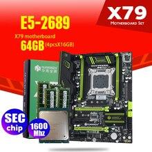 HUANANZHI X79 carte mère LGA2011 ATX combos E5 2689 CPU 4 pièces x 16 GB = 64 GB DDR3 RAM 1600 Mhz PC3 12800R PCI E NVME M.2 SSD