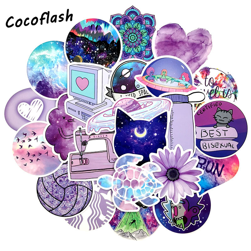 50 Pcs/lot Fashion Cute Cartoon Light Purple Girls PVC Stickers Toys Decor For Car Laptop Pad Phone Trunk Guitar Bicycle Motor