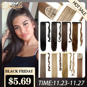 S-noilite 24'' Long Straight Synthetic Ponytail Wrap Around Clip In Ponytail Hair Extensions Heat Resistant Hair Tail Hairpieces