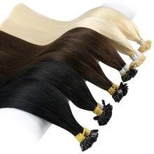 Extensões lisas do cabelo da ponta de ugeat cabelo humano remy loiro 14-24