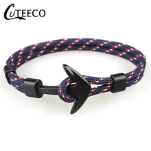 CUTEECO Dropshipping Black Color Anchor Bracelets Men Charm Survival Rope Chain Bracelet Male Wrap Metal Sport Hooks Jewelry