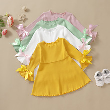Girl Dress Spring Autumn Baby Girl Princess Clothes Cute Girls Cotton Bowknot Long Sleeve girl dress baby clothing spring autumn new style floral girl princess dress in long sleeve retro