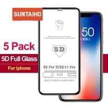 5 Stks/partij Volledige Cover Gehard Glas Voor Iphone 12 Pro Max 11Pro Screen Protector Voor Iphone X Xr Xs Max 7 8Plus 6S Se 2020 Glas