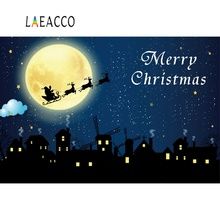 Laeacco Merry Christmas Comics Rural House Moon Night Scenic Photo Backgrounds Customized Photography Backdrops For Studio