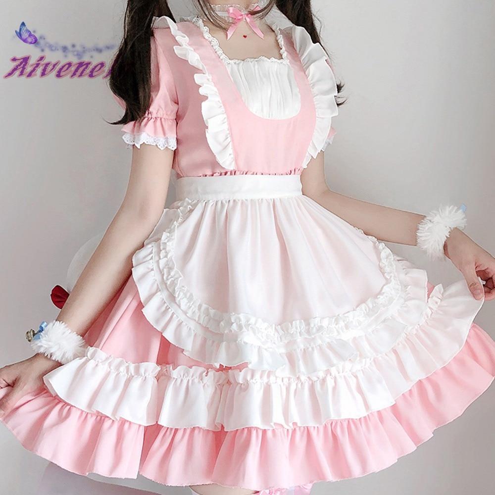 Милая лолита, платье горничной, розовая мягкая женская форма, платья принцессы, кавайный костюм для косплея AFC886
