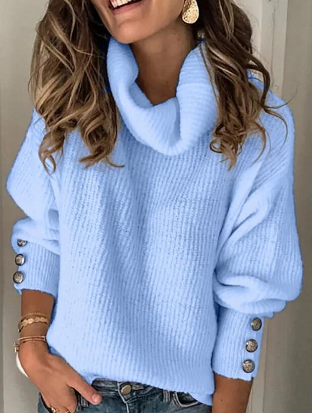 Pullover Sweater Knitted Tops Button