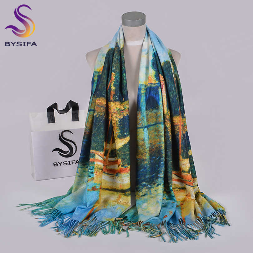 [BYSIFA] Blue Winter Scarves Shawls Fashion Utralong Cashmere Pashmina Printed 200*70cm Ladies Neck Scarf Hijab Echarpes chales
