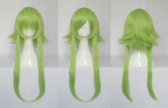 Vocaloid GUMI Cosplay Wigs High-temperature Fiber Synthetic Hair Green Straight Hair + Free Wig Net