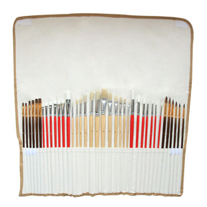 Image 3 - 38pcs/Set Nylon Hair Bristle Artist Paint Brushes with Canvas Case Wooden  Art Supplies For Oil Acrylic Watercolor Painting