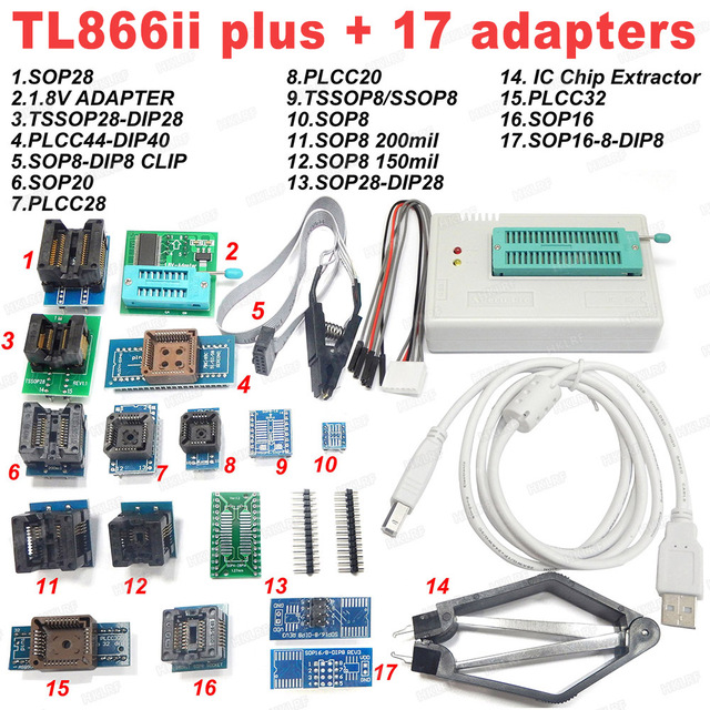 100% XGECU Original  TL866II Plus Universal Programmer+17 Adapters+SOP8 IC Clip  High speed TL866 Flash EPROM Programmer
