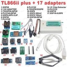 100% XGECU מקורי TL866II בתוספת אוניברסלי מתכנת + 17 מתאמים + SOP8 IC קליפ גבוהה מהירות TL866 פלאש EPROM מתכנת