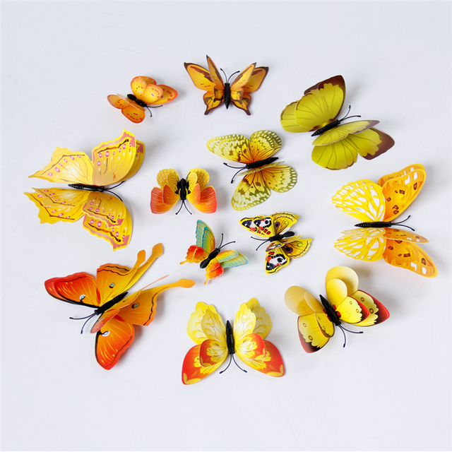 Yellow Orange Pink Butterfly 3D 12Pcs/Set
