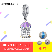 100% 925 Sterling Silver Blue CZ and purple Carousel Beads Fit Original original DIY Charm Bracelet For Girl Jewelry making gift недорого