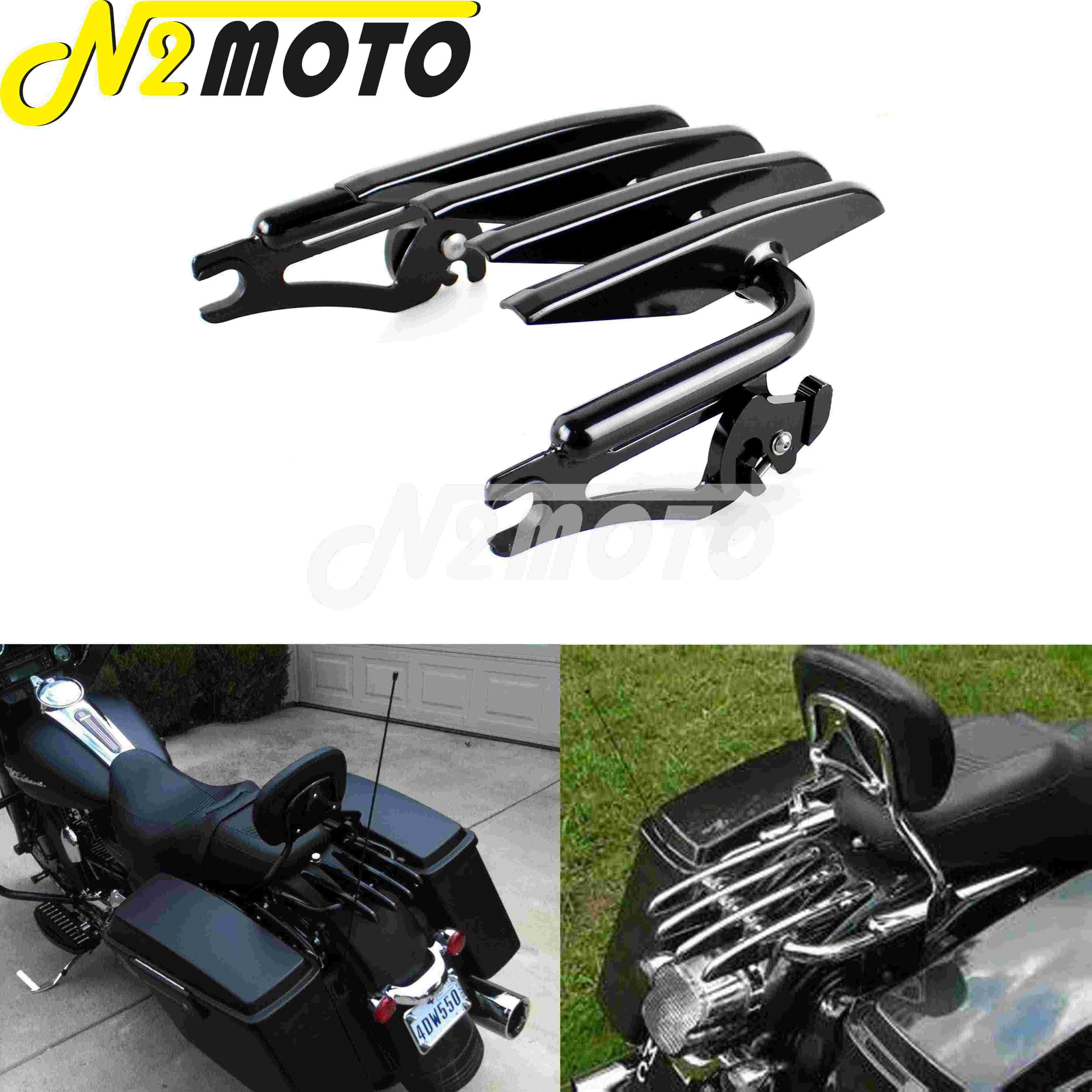 DSISIMO Detachable Chrome Stealth Mounting Luggage Rack Fits For Touring Road King Road Glide Street Glide Electra Glide FLHR FLHT FLHX FLTR 2009-2020