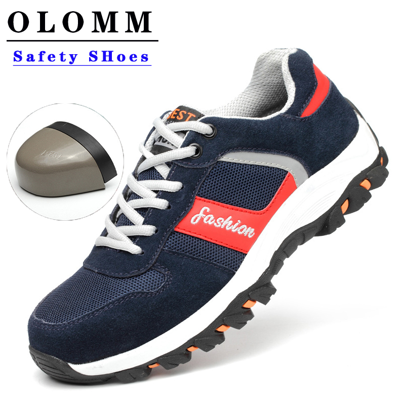 OLOMM Breathable Men Work Shoes Steel Toe Boots Puncture Proof Work Safety Shoes Outdoor Boots Men Safety Shoes Indestructible