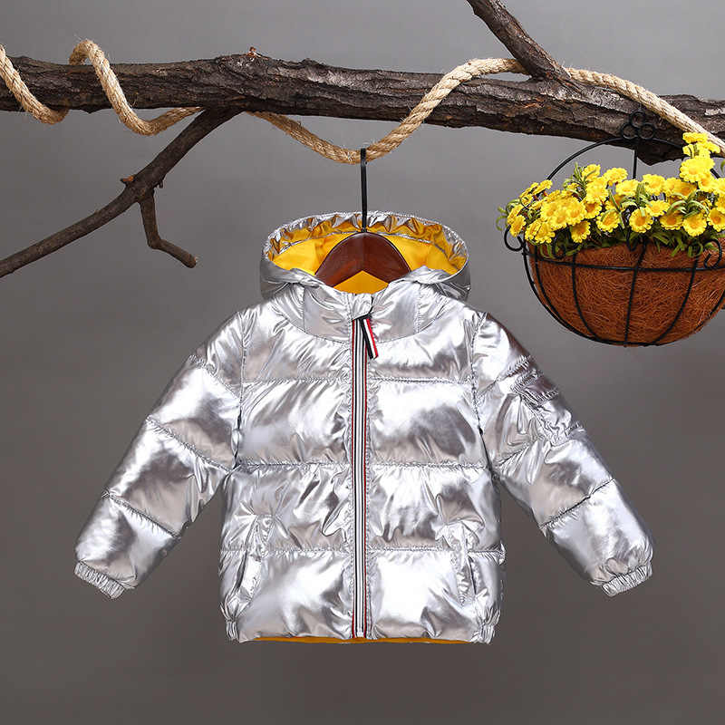 Fashion Thicken Warm Cotton Winter Bright Surface Child Coat Heavyweight Outfits Baby Boys Girls Jackets For 2-8 Years Old