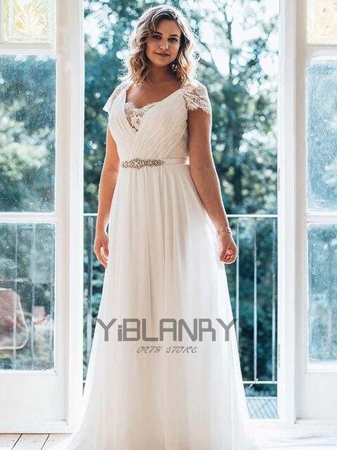 Vintage Wedding Dress Chiffon With Floor Length V-neck Short Sleeves Bride Dresses Lace Button Beading Sashes Vestido De Novia 4