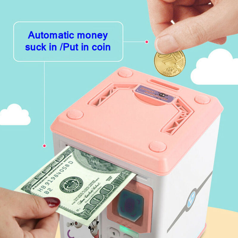 ATM Mini Money Box Safety Password Chewing Coin Cash Deposit Machine Gift For Children Kids Electronic Piggy Bank