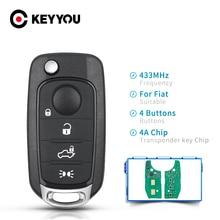 KEYYOU רכב מרחוק מפתח עבור פיאט טיפו טורו 500X 2016 2018 4A שבב 433.92MHz המקורי SIP22 להב אוטומטי חכם בקרת רכב Flip מפתח