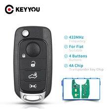 KEYYOU coche clave para Fiat Tipo Toro 500X 2016-2018 4A Chip 433,92 MHz Original SIP22 hoja Auto Smart Control Flip clave