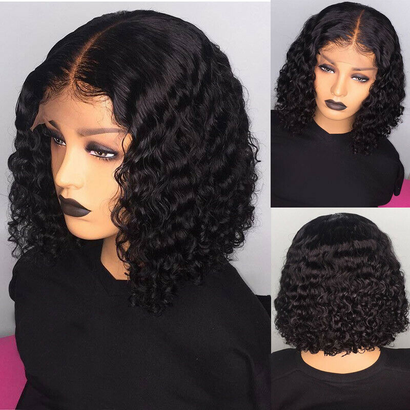 Women Short Curly Lace Front Hair Wig Ombre Brazilian Bob Water Wave Wig HJL2019