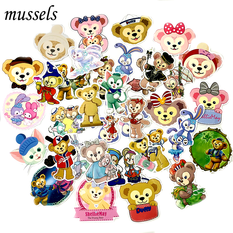 36Pcs Girl Series Duffy Bear Ballet Rabbit Sticker For Scrapbooking Skateboard Guitar Motorcycle Decorative Luggage Suitcase