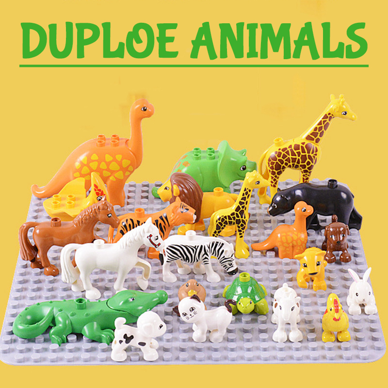Large Duploe Particles Building Blocks Accessories Animals Compatible Duplos Elephant Hippo Tiger Lion Giraffe Toys For Children