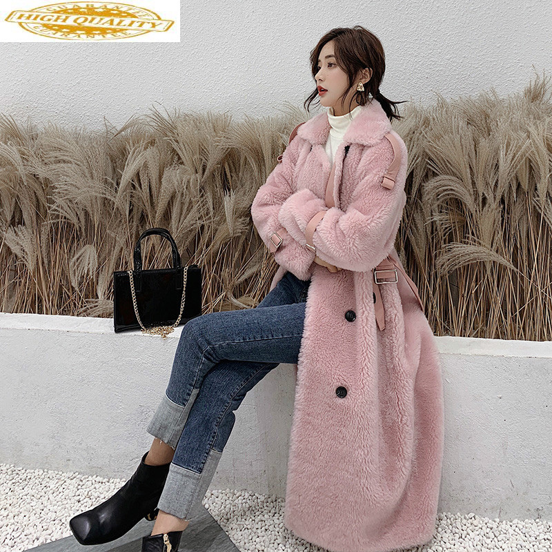 Winter Real Fur Coat Women Long Jacket Sheep Shearing Wool Fur Coats And Jackets Women Korean Clothes B18F34581 KJ3091
