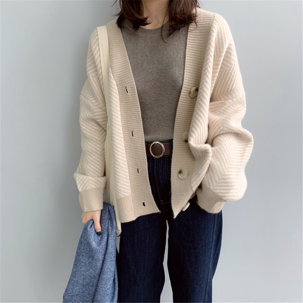 Winter Knitted Sweater Cardigans Women 2020 Spring Open Stitch Loose Knit Cardigans Pink Jumper Striped Sweater Coat Femme 9220 (45)