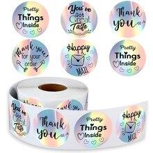 100-500 pces obrigado para o meu pequeno negócio adesivos de papel obrigado você etiqueta etiqueta arco-íris prata adesivo envio etiquetas de correio