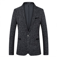 Tweed Mens Blazer for Male Tops Coat New Casual Style Men Suit Jacket New Fashion