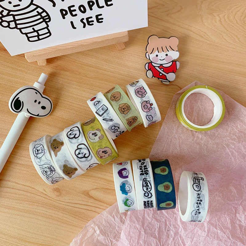 1 PC Cute Bear Washi Tape Kawaii Anjing Dekoratif Pita Perekat untuk Stiker Scrapbooking Label Stationery Tape