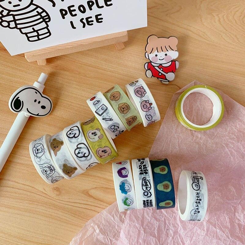 1 Pc Cute Bear Washi Tape Kawaii Dog Decorative Adhesive Tape For Sticker Scrapbooking Label Stationery Tape