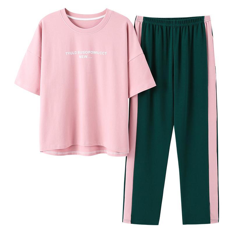 Fashion Printing Pajamas Women Pajamas Set Homesuit Homeclothes Fashion Style Short Sleeve Long Pants Casual Style Sleepwear