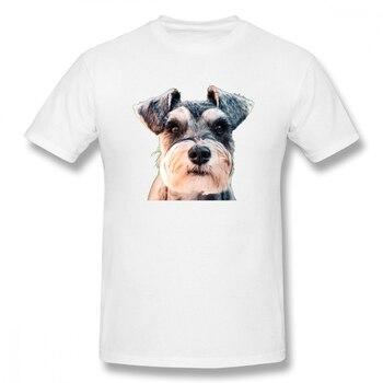 Miniature Schnauzer Face Art Lover Gift Men's Basic Short Sleeve T-Shirt Dog Friend Shirt Eur/USA Size - discount item  49% OFF Tops & Tees