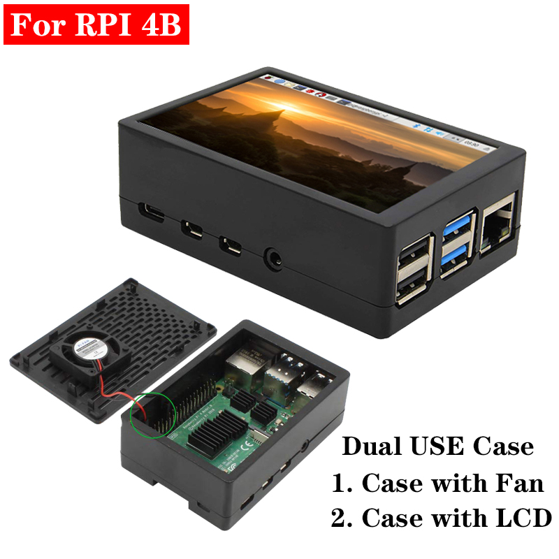 Raspberry Pi 4 Model B Case Dual Use Case Box Enclosure + 3.5 Inch 480*320 Touch Screen Or Cooling Fan For Raspberry Pi 4 4B Pi4