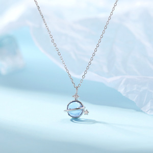 925 prata esterlina jóias com temperamento simples clavícula corrente planeta azul colar para presentes de festa aniversário feminino