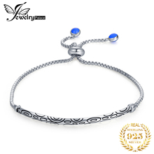 JewelryPalace 925 Sterling Silver Auspicious Cloud Engraved Black Enamel Circles Bubble Adjustable Bangle Bracelet For Women