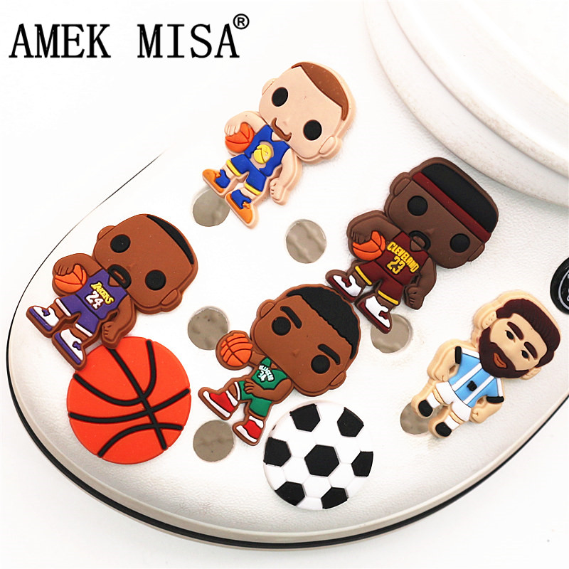 Free Shipping 1pcs Player Style PVC Shoe Charms Decoration Kobe/Jordan/Garnett Shoe Accessories Fit Croc Jibz Kid's Party X-mas